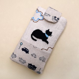 Black cat and cloud embroidery phone bag (M) for 5 inch mobile phone