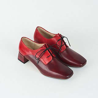 H THREE classic square head derby heel / red / thick heel / retro