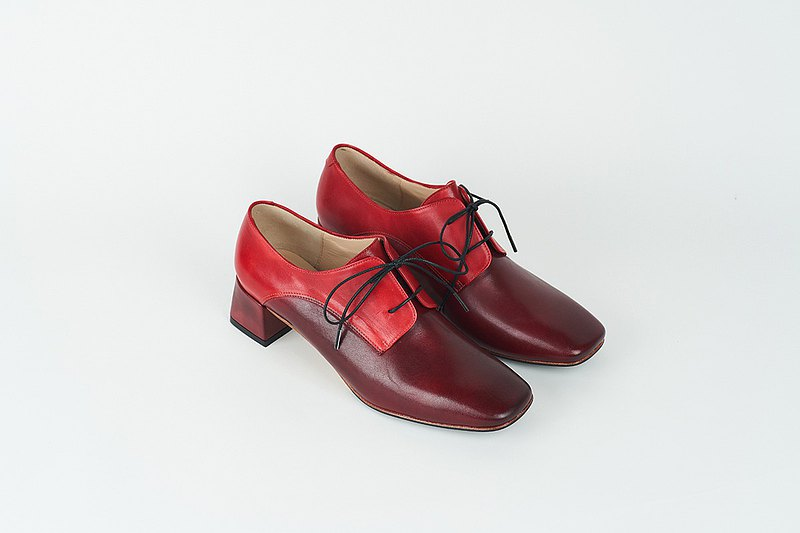 H THREE classic square derby with shoes / red / rough with / retro