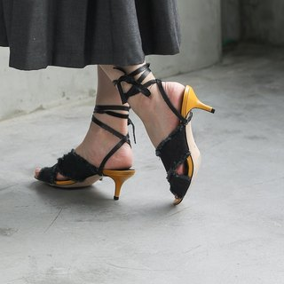 [Show products clear] denim broken edge detachable winding thin low heel leather sandals black denim