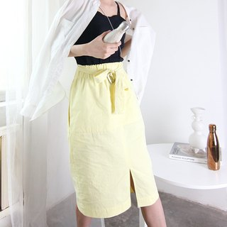 MAODIUL water yellow sand wash cotton elastic waist belt front slit sporty skirt