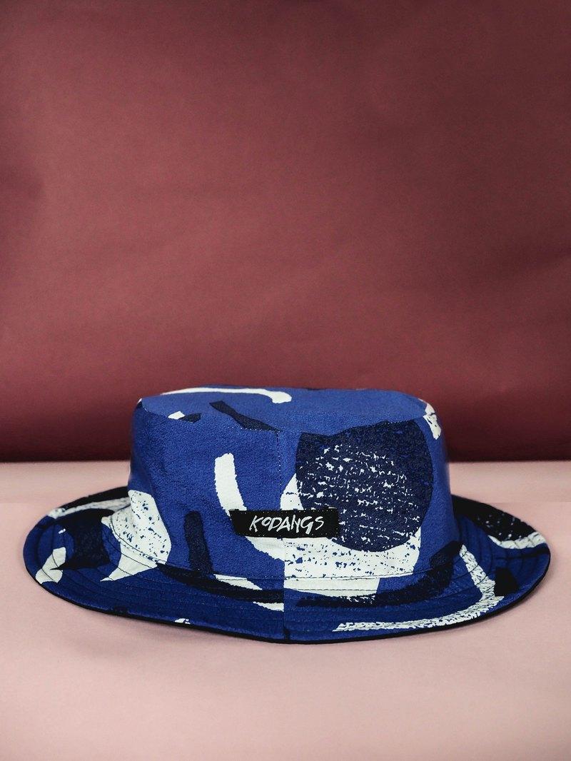 65eef4fb2f6c Black adventure hat - blue geometric pattern FLIPPABLE - Designer Kodangs