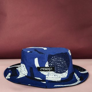Black adventure hat - blue geometric pattern FLIPPABLE