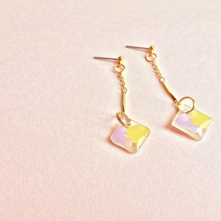 Pink rhombus - purple hand-painted hand-drop earrings ear style