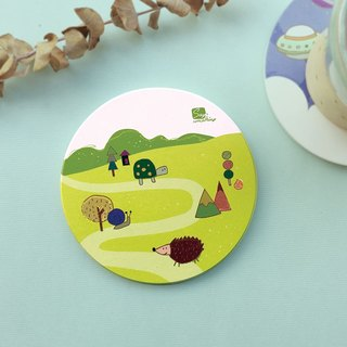 Happy together hand-painted wind forest animal ceramic drinking coasters