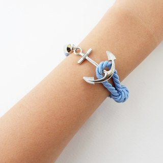 Anchor bracelet / Matte blue twisted rope