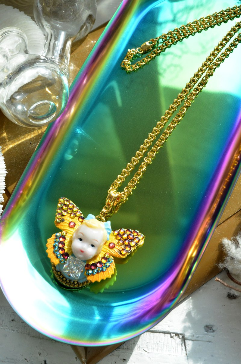 TIMBEE LO Alice Girl Butterfly Wing Crystal Stone Plated Gold Necklace Necklace