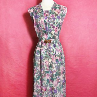 Pink flower textured sleeveless vintage dress / brought back to VINTAGE abroad