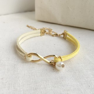 Handmade Infinity Bracelets Rose Gold Series– lemon yellow