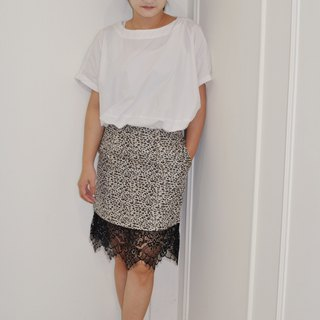 Flat 135 X Taiwan designer series autumn and winter must-have leopard fabric narrow version over the knee pencil skirt