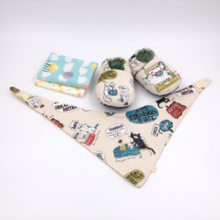 Comic cat - Miyue baby gift box (toddler shoes / baby shoes / baby shoes + 2 handkerchief + scarf)