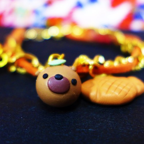 [Saturn] Yuan small civet cats warm orange and red beans texture Japanese star fruit Yuan bracelet | Xing Yuan diary series: series and fruit | [Saturn Ring] Saturn Diary Bracelet | polymer clay creations. Waterproof material. Necklace can be changed / key