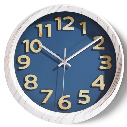 【019014-05】 a.cerco Fami wall clock - wood frame word series (colored optional) - gray frame / blue bottom