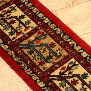 Hand-woven carpet handmade rug Elongated runner type red killim pattern