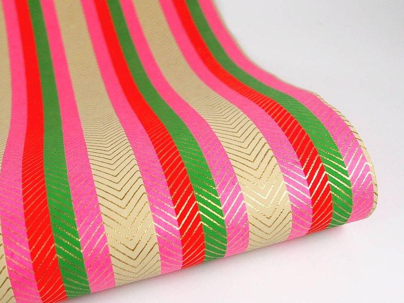 Shizen 粉紅綠條紋 手工包裝紙