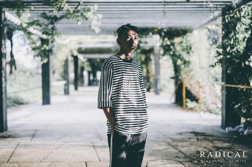 "RADICAL street brand network store 17 S / S ""FLOW SLEEVE"" horizontal stripes splicing seven-point sleeves black / white"
