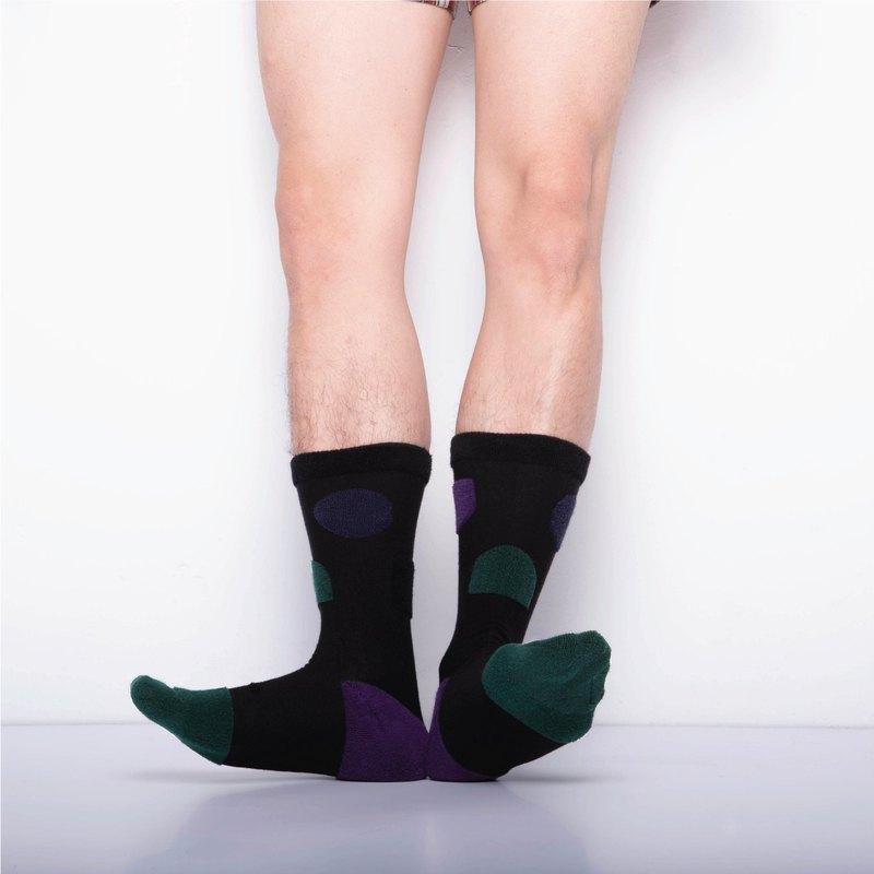 內在美系列 - 寧 黑色 雙面中筒襪 Reversible Socks