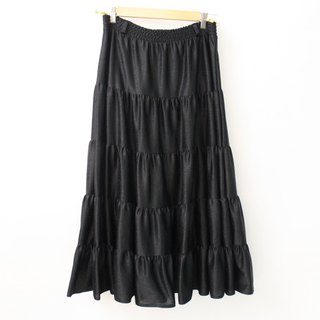 Vintage simple black A word Europe and the United States vintage dress European Vintage Skirt