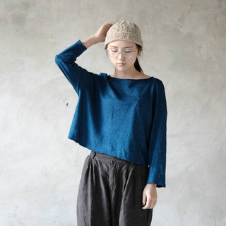 Just right | 靛 blue four-color natural hemp cotton drop shoulder shirt T-shirt men and women loose Oversize