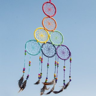 Valentine's Day gifts birthday gifts Christmas gifts ethnic style boho hand-woven cotton rainbow dream catcher strap dream Cather / handmade crochet dream catcher - seven circles candy color dream catcher 22x28