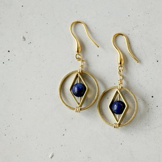 Geometric Brass Lapis Earrings - 14K gold ear hook Note - Crystal hypoallergenic