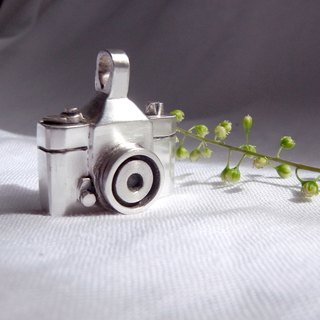Silver Camera--A Memory Box--Silver Window--Pendant Necklace with Wax Rope
