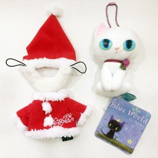[Christmas Edition] Japanese Blue Cat Christmas Clothes Detachable Fleece Doll Charm (10CM)_White