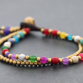 Colorful Candy Bracelets Stone Mix Fresh Multi Color Raw Brass Woven