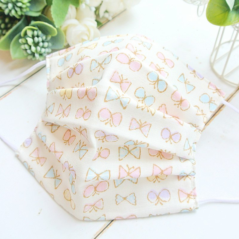 蝶々 白色 手工立體口罩 可洗滌 日本製純棉二重紗布 成人