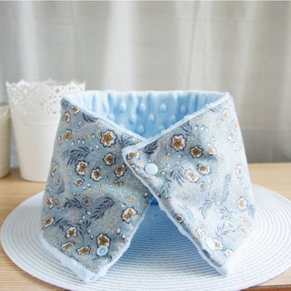 Lovely [韩,韩布]Flower and leaf brushing cotton fur collar, neck short scarf [light gray blue gray]