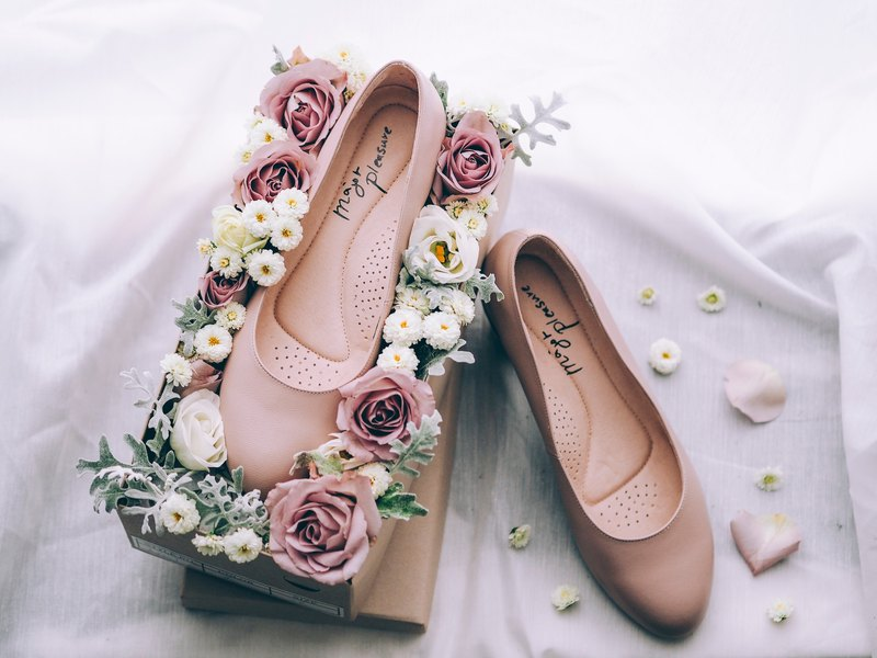 Not grinding! Pearl Rose - soft sheepskin low-heeled shoes [Major Pleasure] full leather MIT Taiwan handmade