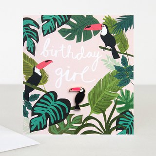 【caroline gardner】Toucan Pin Badge Birthday Girl Card BOH001