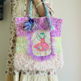 Hand - painted illustrations embroidered hand crochet wool - pink
