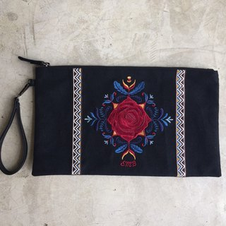 Hoola Rose Black Clutch