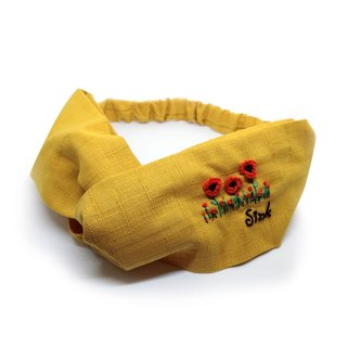 [Art] poppies 100% hand-embroidered hair band