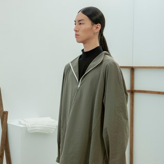 TRAN - Paneled Hooded Half-Open Jacket