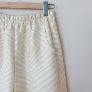 Yellow and white diamond straight waist wide pants