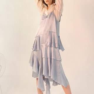 Blue Irregular Pearl Pin Strap Ruffled Dress Long