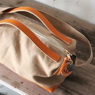 nomad-mini · tan tannin dye canvas × leather shoulder bag