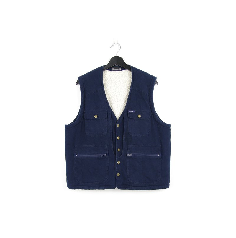 Back to Green cotton fisherman vest dark blue //vintage vest