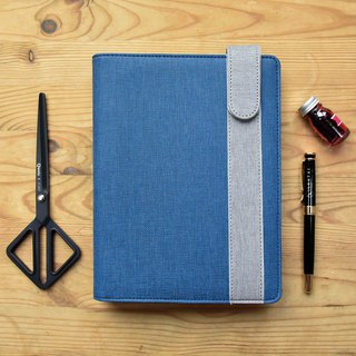 A5 Refillable Organizer, 6-ring with Fountain Pen Friendly Paper - Blue+Gray