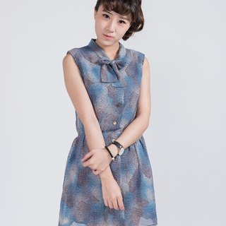 Vintage dress | BD805 | Blue Sea Psychedelic | Printing | Chiffon