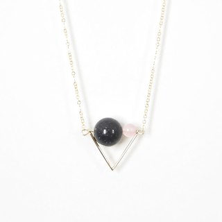 星空旗幟 項鍊 藍砂 粉玉髓 Triangle Flag Necklace with Blue Sandstone + Pink chalcedony