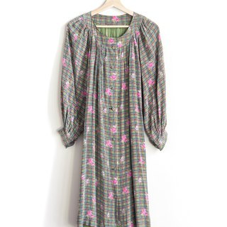Vintage Plaid Garden Silk Vintage Long Sleeve Dress