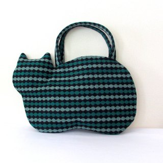 New woolen cat bag Green and black stripe