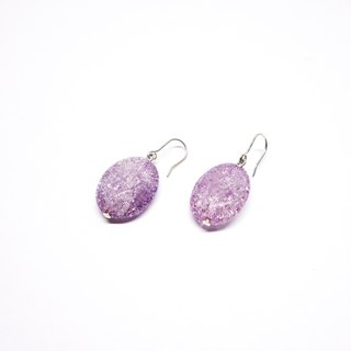 Purple crysta earrings SV925 【Pio by Parakee】紫色水晶耳環