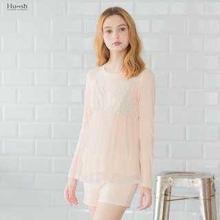 Perspective Sheer Vest + Comfort T-Shirt with T-Shirt - Apricot