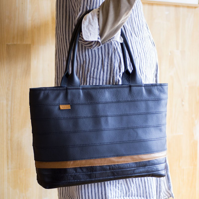 Border Leather Tote Bag / Black and Brown