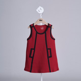 Vintage lozenge dress ( White/ Red) - 100% organic cotton