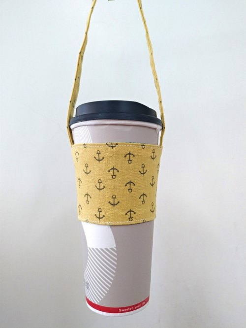Drink Cup Set Eco Cup Set Hand Drink Bag Coffee Bag Tote Bag - Brush White Nostalgia - Anchor (Earth)
